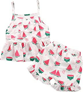 YOUNGER TREE Toddler Baby Girls Summer Short Sets Watermelon Strapless Sleeveless Tops + Pants Little Girls Cool Outfits