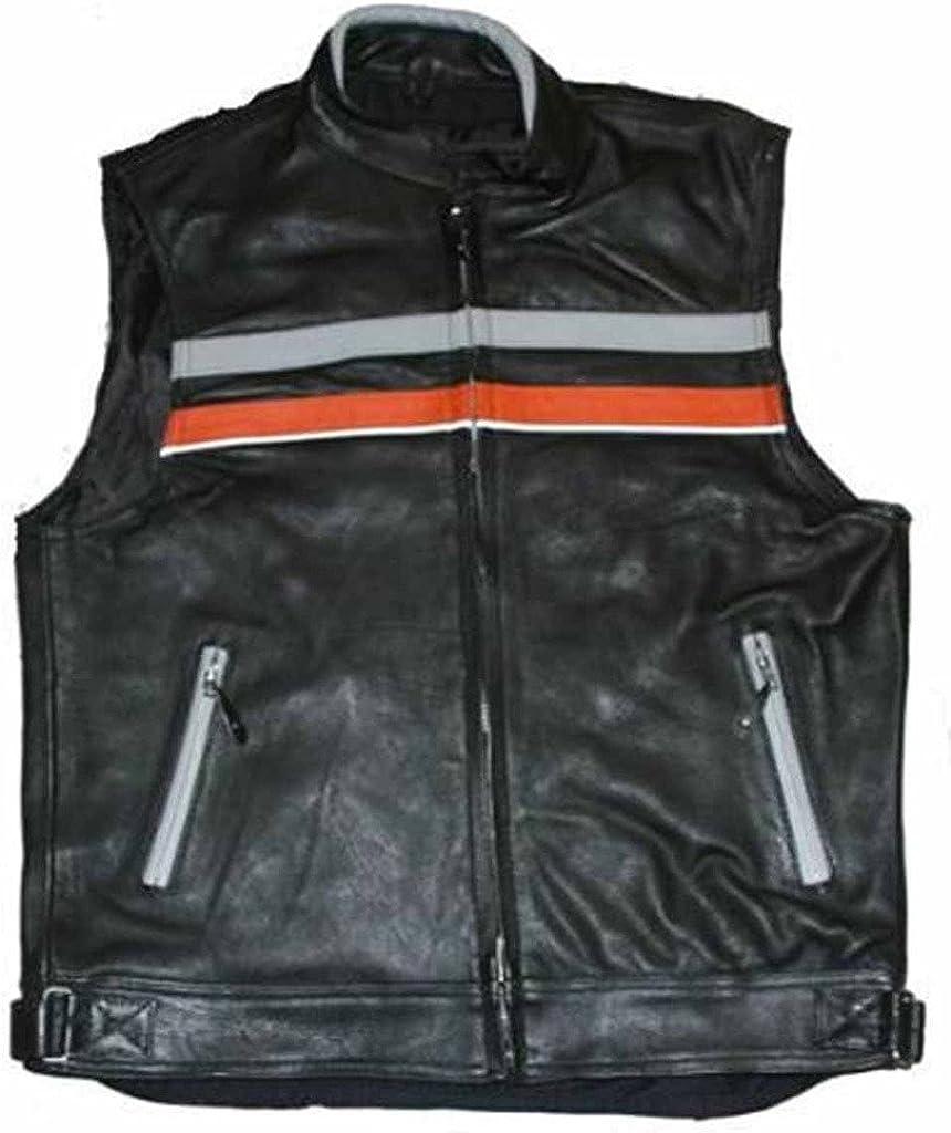 Mens Orange Black Naked Leather Vest with Reflective Strip