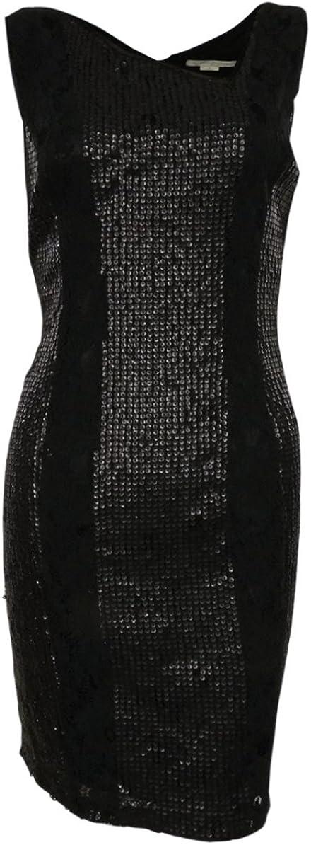 Asymmetrical V-Back Sequined Lace Dress (6, Black)