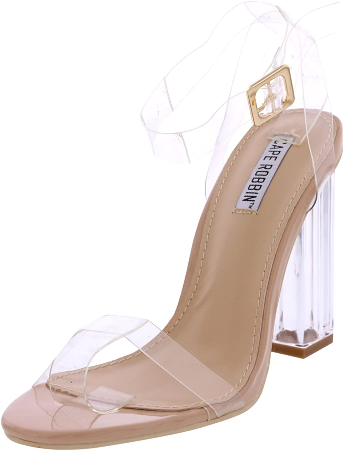 Cape Robbin Maria-2 Women's Lucite Clear Strappy Block Chunky High Heel Open Peep Toe Sandal, Transparent, Yellow