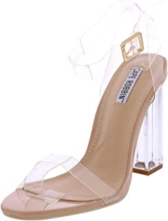 fcd429ebf24588 Cape Robbin Maria-2 Women s Lucite Clear Strappy Block Chunky High Heel  Open Peep Toe