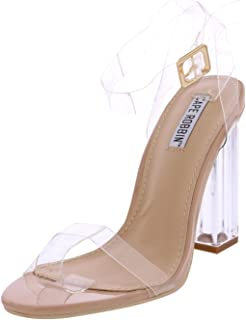 Cape Robbin Maria-2 Women s Lucite Clear Strappy Block Chunky High Heel  Open Peep Toe abc128ac1704