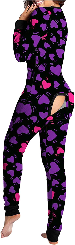 AODONG Women Jumpsuit Pajamas, Womens Onesie Pajamas with Back Functional Buttoned Flap Long Sleeve Bodysuit Sleepwears