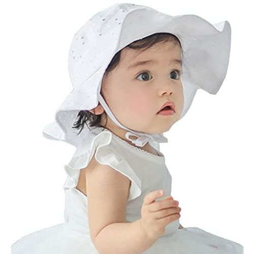 879ab0eee5c iHomey Baby Toddler Girls Large Brim Sun Hat with Chin Strap Cotton UPF 50+  Sun