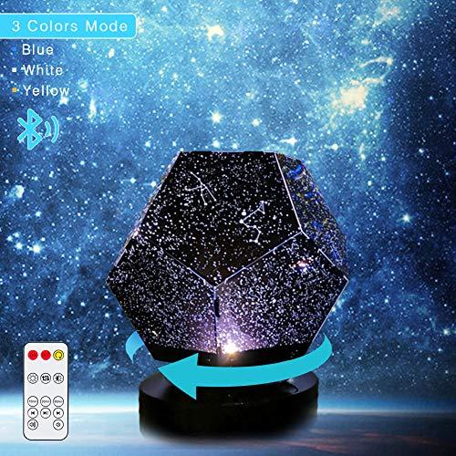 Sternenhimmel Projektor Sternbild Effekt Lampe Multifunktion Kinder Nachtlicht, mit Bluetooth Lautsprecher, Timer verstellbar, mit Fernbedienung, drehbare Kugel Musik Steuerung für Party