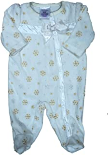 Infant Girls Ivory   Gold Velour Snowflake Blanket Sleeper Baby Footed  Pajamas dcf729a6e