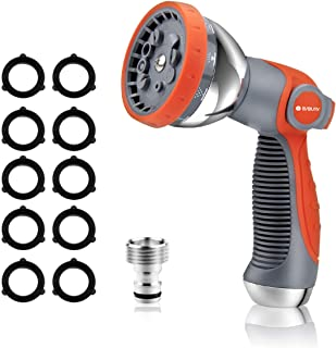 BIBURY Garden Hose Nozzle, 10 Patterns High Pressure Garden Hose Nozzles, Water Hose Spray Nozzle Heavy-Duty for Watering Lawns, Washing Cars & Pets