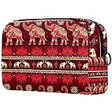 Neceser de viaje, bolsa de viaje impermeable con cremallera mejorada, sin costuras, elefantes rojos, religión creencia