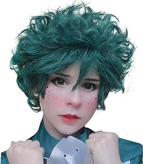 JoneTing Green Wigs for Kids Short Body Wave Wigs Synthetic Wigs for Boy My Hero wig