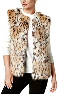 Women's Beige Faux Fur Leopard Print Ribbed Knit Vest