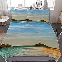 UKSILYHEART Double Size Duvet Cover Set,Bedding Set of 3 Catamaran On A Beautiful Beach Bedding Set Decorative 3 Piece Bedding Set with 2 Pillow Shams