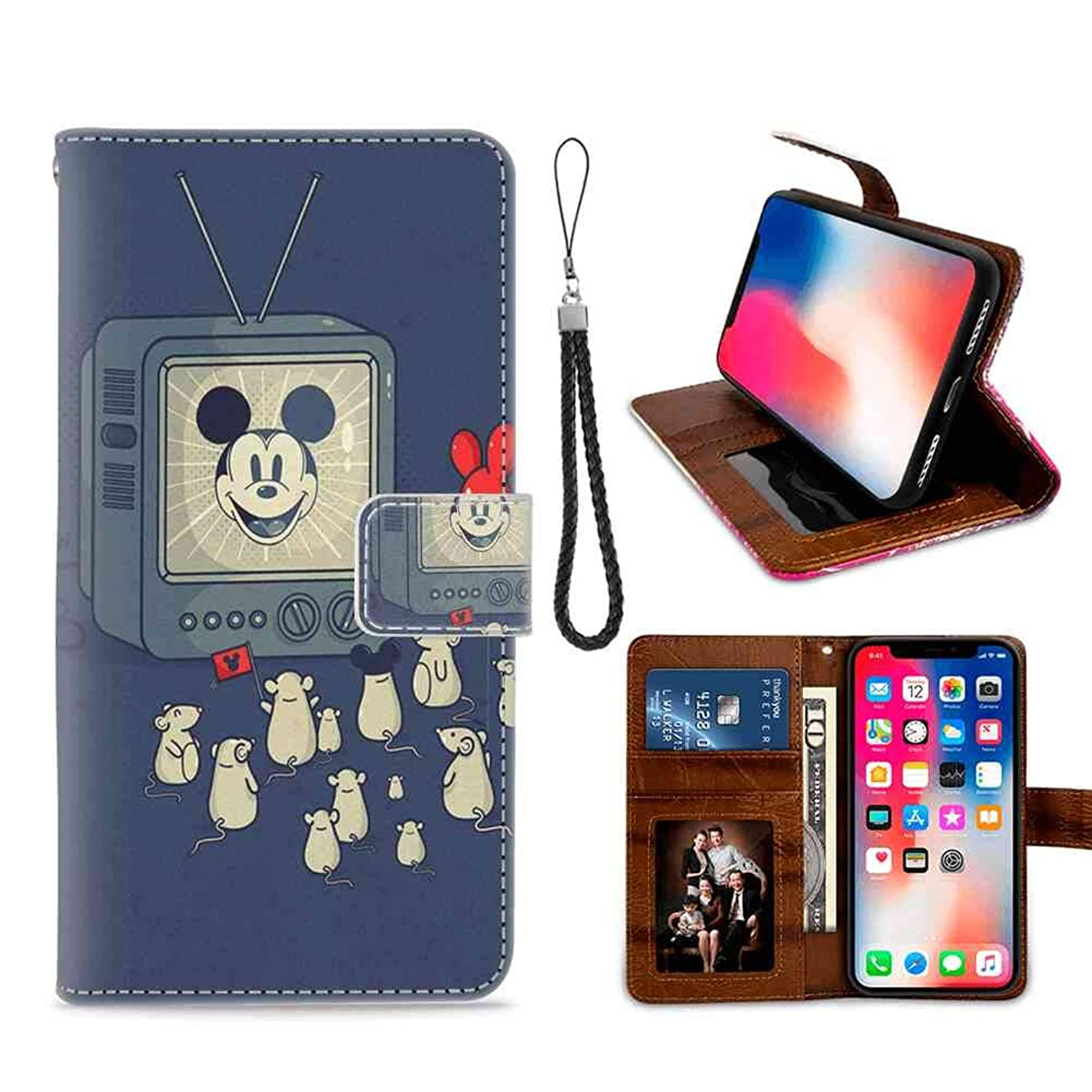 DISNEY COLLECTION Phone Wallet Case Fit Apple iPhone Xs and 10 and X The mice are Watching Mickey Mouse on TV Folio
