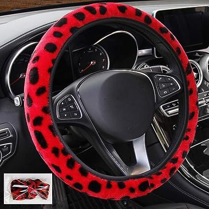 Grey seemehappy Fluffy Leopard Print Elastic Car Steering Wheel Cover Anti-Slip Warm Steering Wheel Cover Fit for 14inch 15inch