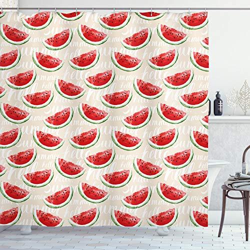ABAKUHAUS Früchte Duschvorhang, Aquarell Wassermelonen, mit 12 Ringe Set Wasserdicht Stielvoll Modern Farbfest & Schimmel Resistent, 175x200 cm, Jadegrün Creme Rot