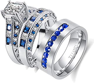 wedding ring set Two Rings His Hers Couples Matching Rings Women's 2pc White Gold Filled Blue CZ Wedding Engagement Ring B...