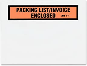 "3M PLE-T1 Top Print Packing List Envelope, 4-1/2"" Wide x 5-1/2"" Long"