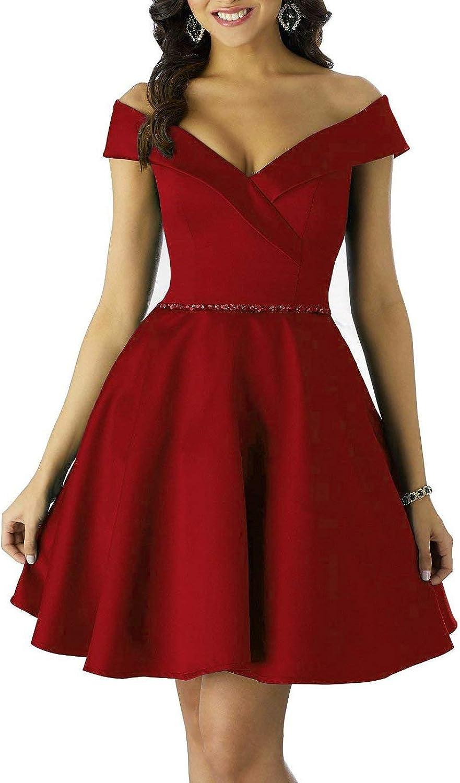 Alicebridal Women's Off Shoulder ALine Homecoming Dresses Beaded Satin Short Prom Gown