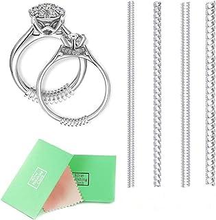 Anillo de tamaño ajustable, anillo de tamaño ajustable para anillos sueltos, 4tamaños con la joyería paño de pulido, juego de 8