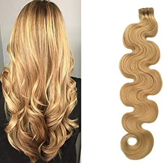 "Wavy Tape in Hair Extensions Honey Blonde Human Hair Glue in Extensions Seamless Skin Wefts Remy Hair Extensions Body Wave 20"" 50g 20Pcs/Package"
