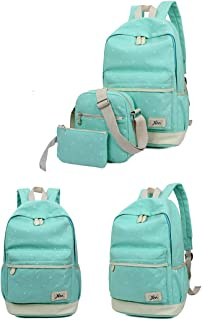 Canvas Girl School Bags For Teenagers backpack women Three piece suit shoulder bags 3 Pcs Set Green