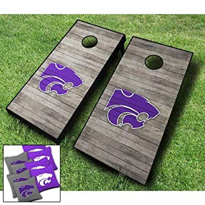 """KANSAS STATE WILDCATS """"Distressed"""" Themed CORNHOLE WRAPS BOARD SET Bean Bag Toss + 8 ACA Regulation Bags ~ MADE in the USA"""