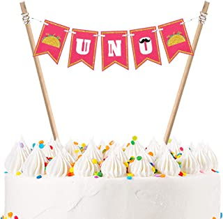 UNO Cake Bunting Topper Fiesta First Cake Topper Baby 1st Birthday Party Decoration Supplies - Handmade Double Side Glitte...
