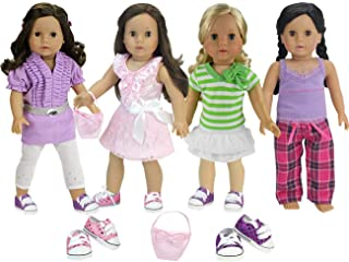 4 Seasonal Complete Doll Wardrobe (12 Pc Set) Doll Top, Belt, Leggings, Striped Top, White Skirt, Pink Shirt, Skirt, Purse, Casual Tank, Flannel Pants & 2 Pair of Sequin Sneakers for American Doll