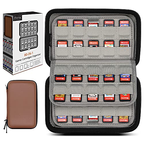 Sisma 80 Game Cartridge Holders Storage Case for Switch Games or SD Cards, Hard Shell Games Organiser Compatible with Nintendo Switch PS Vita Game Cards - Brown
