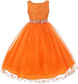 Clothes, Shoes & Accessories Sunny Girls Orange Cotton A Line Summer Dress Age 7-8 Years