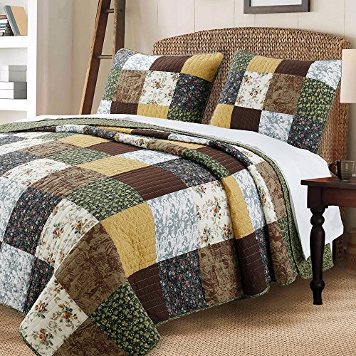 Cozy Line Home Fashions Andy Brown Olive Mustard Yellow Black Real Patchwork Quilt Bedding Set, 100% Cotton Reversible Coverlet, Bedspread Set for Men Women (Brown / Olive, Queen - 3 Piece)