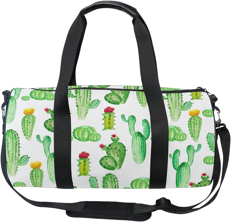 Cooper girl Watercolor Cactus Duffels Bag Travel Sport Gym Bag