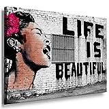 Image sur châssis « Life is beauty » - Graffiti - 80 x 60 cm - Couleur n° 99359 - Impression d'art pop art - Décoration murale - 200 « Banksy »