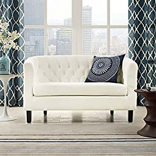 Modway Prospect Velvet Upholstered Contemporary Modern Loveseat In Ivory