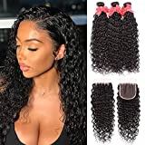 Brazilian Water Wave Bundles with Closure 8A Unprocessed Virgin Human Hair Weave 3 Bundles with Closure Natural Black Remy Hair Extensions(24 26 28+20)