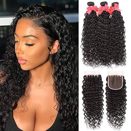 Brazilian Water Wave Bundles with Closure 8A Unprocessed Virgin Human Hair Weave 3 Bundles with Closure Natural Black...