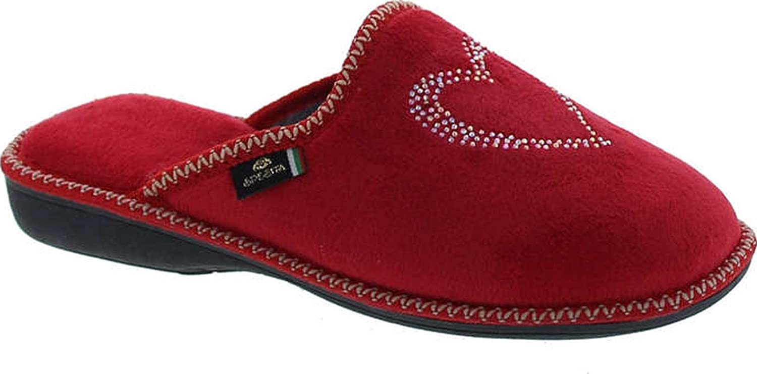 Sc Home Collection Womens 12517 Plush Heart Cozy House Slippers Made In Europe