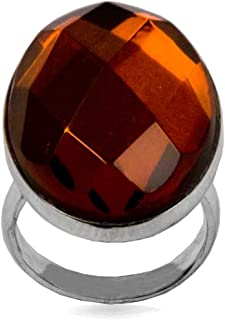 Sterling Silver Red Dark Amber Faceted Oval Ring