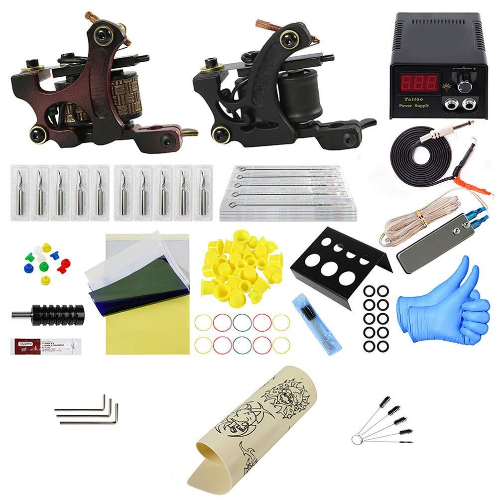 Complete trend Long-awaited rank Beginner Tattoo Machine Kit Power Set LCD G-u-n Supply