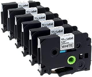 Label KINGDOM 6 Pack Replace TZe231 TZe Tapes 12mm 0.47 Inch Laminated White TZ231 Label Tape Compatible with Brother P-Touch Label Maker PT-D210 PT-D600 PT-2730VP PT-H100 PT-1880 PT-1010 PT-2300
