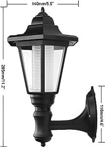 LemonBest® Applique murale extérieure à énergie solaire à LED - Lanterne murale à énergie extérieure à LED - Noir