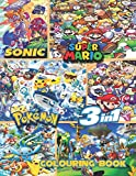 Sonic, Super Mario, Pokemon   3-in-1 colouring book: JUMBO Colouring Book   50+ illustrations   Sonic The Hedgehog   Super Mario   Pokemon   High Quality Colouring Pages   Ages 3-10