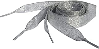 Sparkly Silver Flat Ribbon Shoelaces, Shoe Laces For Kids, Youths & Women's Converse All Star Sneakers