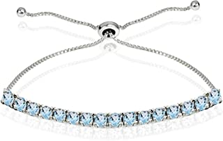 Sterling Silver 3mm Genuine Created or Simulated Round-cut Chain Adjustable Pull-String Bolo Slider Tennis Bracelet