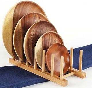 MZY1188 Escurridor de Platos de bambú Plato de escurridor, escurridor de Porta Utensilios, Organizador de gabinete de Cocina Escurridor de Secado Escurreplatos Estante Soporte de Tapa de Olla