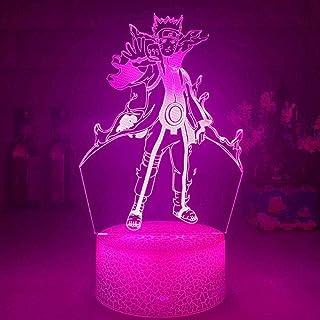 BTEVX Lámpara de dormitorio de anime 3D Naruto Kurama Anime Regalo para niños dormitorio infantil Cambio de color 7 colores Luz de noche Luces táctiles