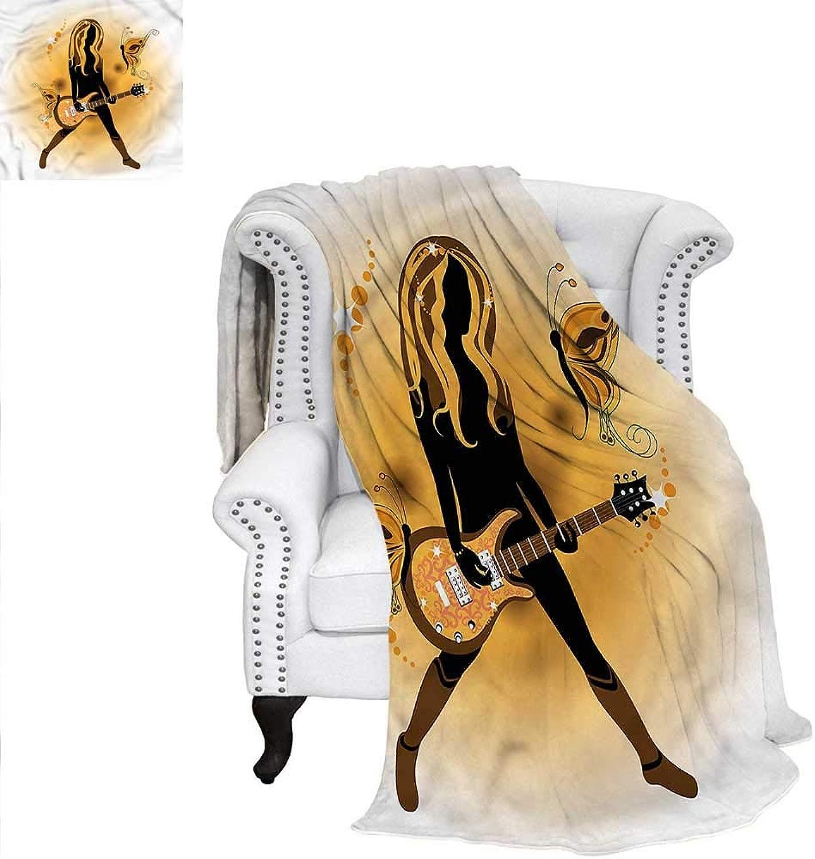 RenteriaDecor Popstar Party Super Soft Blanket Girl Hair Guitar Digital Printing Blanket 60 x50