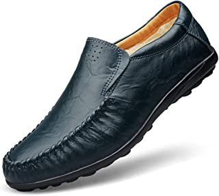 QinMei Zhou Men's Classic Business Penny Loafers Soft PU Leather Dress Wedding Breathable Casual Shoes Anti-Slip Flat Round Toe Slip-on Fleece Inside (Color : Blue, Size : 5.5 UK)