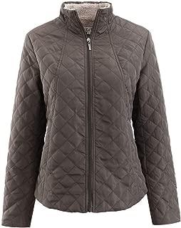 QIQIU Womens Thick Warm Plush Slim Fit Winter Zipper Plaid Pattern Outcoat Coat Loose Jacket Overcoat