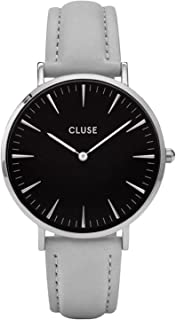 Cluse Women's La Boheme 38mm Grey Leather Band Metal Case Quartz Black Dial Analog Watch CL18218