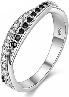 Uloveido Platinum Plated Twisted Black CZ Crystal Eternity Rings for Wedding Engagement Band Y022